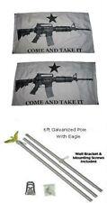 3x5 White Come & Take It Guns 2ply Flag Galvanized Pole Kit Top 3'x5'