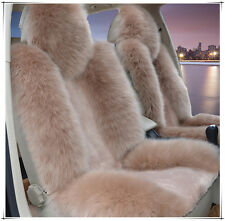 1pc Light Brown Real Australia SheepSkin Car Long Wool Front Seat  Fits Most Car