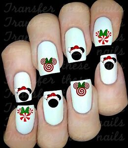 Mickey Minnie Mouse Christmas Noël 30 stickers ongles manucure nail art déco