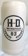 "HD Motorcycles 03 Etched Beer Mug Stein Pottery 8"" Unmarked Handmade"