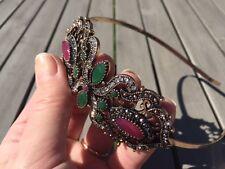 Turkish Antique Gold Branch Sculpture Tiara Head Band Piece Indian Agate Wedding