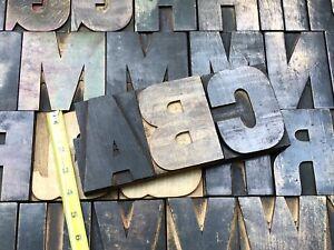 "Antique VTG Large 4""+ Wood Letterpress Print Type Block Alphabet A-Z Letter Set"