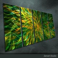 Large Original Metal Art Abstract Green-Yellow-Amber Decor Indoor Outdoor-Zenart