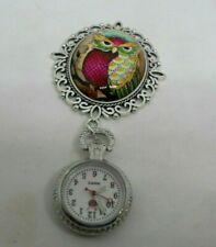 Vintage Colourful Owl Cabachon Brooch Fob Watch