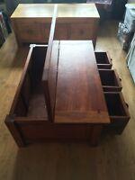 Dark Mango Wood Coffee Table With Drawers & Storage
