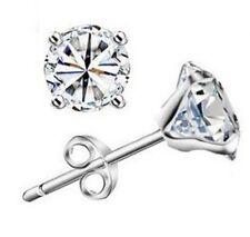Mens Womens 6mm Cubic Zirconia Crystal Stud Earrings Stunning!