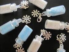 10 x Mini Fairy Dust Charms Frozen Snowflake  Mixed Tiny Bottle Pendant Necklace