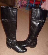 Unisa Women's  Boots 6.5 Riding Boot Shoe Black Low Heel Side Zip Buckle