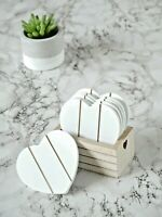 6pc Vintage Wooden White Love Heart Shabby Chic Coffee Table Coasters & Holder
