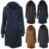 Women's Fleece Trench Coat Winter Zip Up Hooded Hoody Warm Long Jacket Outerwear