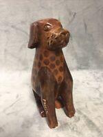 """Vintage Hand Made Golden Retriever Lab Carved Wood Dog Outsider Folk Art 7.75"""""""