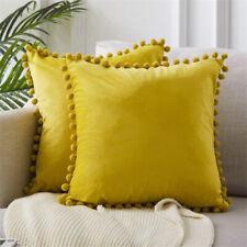 Soft Velvet Ball Lace Pillowcase Square Cushion Cover Sofa Bed Car Pillowcase