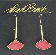 NEW! Laurel Burch YAMA Fuchsia Cloisonne Gold Retired Fan Earrings