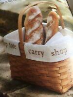 Longaberger Flax Cream Large Market  Embroidered Basket liner Only New