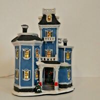 Vintage Ceramic Christmas Village Inn-House Building Large lighted Decor w/ FLAW