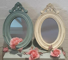 Anitque Chic Style Blue Cream Mirror Wall mounted or Free standing Shabby Paint