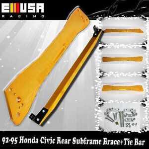 Rear Tie Bar + Subframe Gold for 92-95 Honda Civic 93-97 del Sol 94-01 Integra
