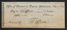 Thomas Jefferson Autograph & Check Reprint On Original Period 1790s Paper