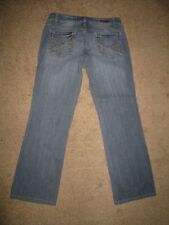 DKNY Jeans Size 8 Light Blue Stretch Denim Distressed Hips Slight Boot Womens