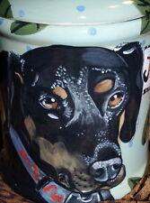 Tattoo Dog Doggie Cookie Jar Doberman Cannister tall food storage 2 Portraits