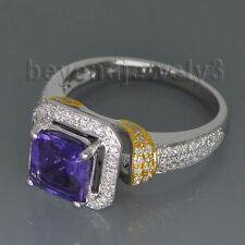 Solid 14Kt Two Tone Gold Diamond Amethyst Engagement Wedding Gemstone Ring