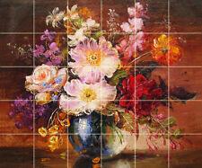 30 Tiles Art Colorful Decor Ceramic Backsplash Bath Flowers Tile #1200