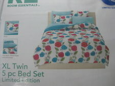 RE Room Essentials LE Twin 5PC Bed-in-a Bag Set Blue Fusa Red Floral NIP