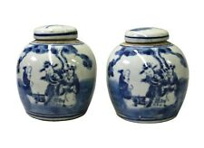 Pair Blue White Small Oriental Graphic Porcelain Ginger Jars cs3110