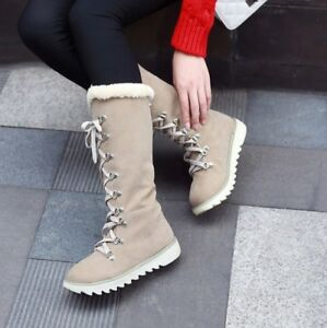 New Women's Lace Up Winter Boots Low Heel Faux Suede Warm Round Toe Casual Shoes