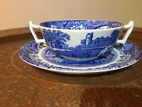 Spode blue Italian soup coupe and plate black back stamp