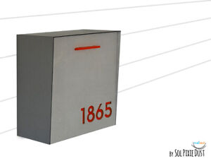 Modern Mailbox Concrete Face, Metallic Gray Body, Red Acrylic numbers, Type 1