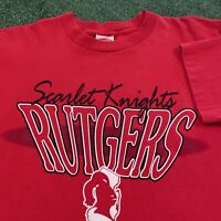 Rutgers Scarlet Knights T Shirt Mens Large Vintage 90s Red University New Jersey
