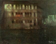 Henri Eugene Augustin Le Sidaner Painting repro The Old Palace,Moonlight,Venice