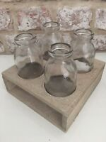 Mini Milk Bottles Vases Glass Crate Grey Wooden Tray Bud Set of Four