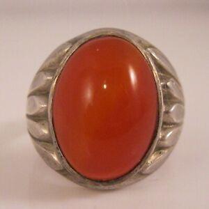 Art Deco Men's Carnelian Sterling Silver Signet Ring Clark & Coombs Size 10.25