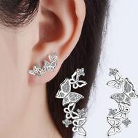 Women Lady Fashion Elegant 925 Silver Zircon Butterfly Ear Stud Earrings