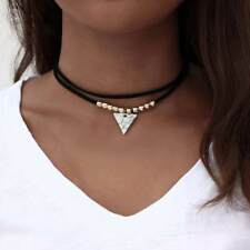 Multi Layers Velvet Choker Triangle Turquoise Pendant Necklace Women Jewelry