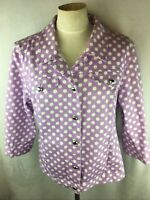 Christopher & Banks Women's  XL Jean Jacket Purple Polka Dot 3/4 Sleeve Denim