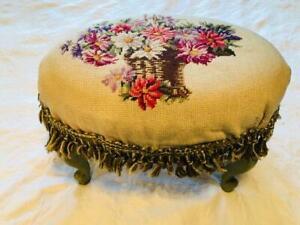 "Vintage Cottage Wooden Footstool Flower Basket Needlepoint Ottoman Stool 11X17"""