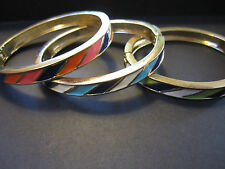 Bangle bracelet lot of 3 spring hinge striped colorful modern fashion jewely