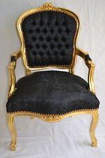 Fauteuil de style Louis XV noir satin et bois doré