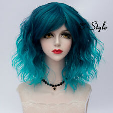 35CM Lolita Medium Curly Mixed Blue Women Cosplay Bang Ombre Party Wig + Cap
