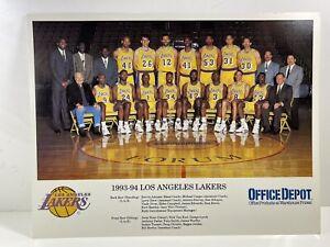 1993-1994 Los Angeles LAKERS Basketball Team Photo Coach Magic Johnson