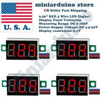 """4pcs 0.36"""" RED DC 0-100V 3 Wire LED Digital Display Panel Volt Meter Voltmeter"""