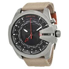 Diesel Men's DZ4306 'Mega chief Military World time Watch,Canvas Band Black Dial