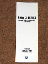 1995 BMW 3 SERIES PRICE LIST & SPECIFICATIONS - Coupe Convertible Saloon Touring