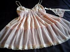 Sheer Pink Babydoll + Thong Set Flouncy Soft Lacy S NEW Sexy Nightie Lingerie