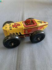 Vintage Original Marx Wind Up Race Car #4 Tin Litho w/ Driver - Works Very Nice!