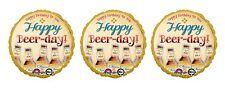 3 Happy Beer Day Birthday Mylar Balloons
