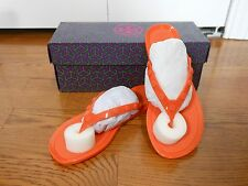 NEW Tory Burch Logo-Studded Jelly Thong Flip Flops Sandals, Poppy Coral Size 6